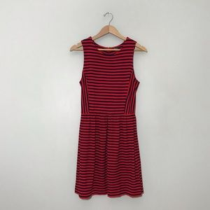 Madewell Striped Afternoon Dress in Red and Navy